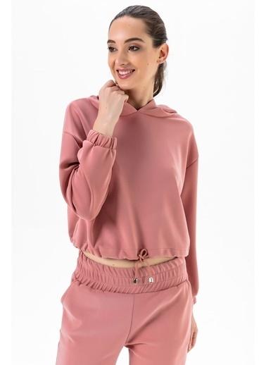 Tiffany&Tomato Kapüşonlu Beli Lastikli Crop Sweatshirt-Gül Pembe